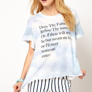 Wildfox Jagged Edge, Shakespeare T-shirt *rare*